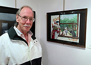 Manhasset, New York, U.S. October 14, 2016. BOB STUHMER stands next to his pencil illustration of Hansel and Gretel fairy tale, at Reception for The Art Guild exhibition is held at Elderfields Preserve.