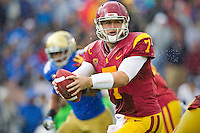 17 October 2012: Quarterback (7) Matt Barkley of the USC Trojans drops back to pass against the UCLA Bruins during the second half of UCLA's 38-28 victory over USC at the Rose Bowl in Pasadena, CA.