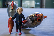 Olive, aged 3, with her fish she named Veronica - The Hyundai Commission 2016: Philippe Parreno in Tate Modern's Turbine Hall runs from 4 October 2016 to 2 April 2017. Philippe Parreno. Parreno is a French artist who creates kaleidoscopic environments and choreographed spaces, in which a series of unique events and experiences unfold. A key artist of his generation, his work uses sound, light, film, sculpture and technology.
