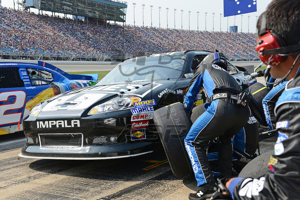 Joliet, IL - SEP 16, 2012: Jimmie Johnson (48) makes a pit stop for the Geico 400 at the Chicagoland Speedway in Joliet, IL.