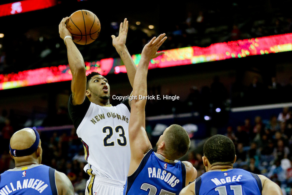 Jan 6, 2016; New Orleans, LA, USA; New Orleans Pelicans forward Anthony Davis (23) shoots over Dallas Mavericks forward Chandler Parsons (25) during the second half of a game at the Smoothie King Center. The Mavericks defeated the Pelicans 100-91. Mandatory Credit: Derick E. Hingle-USA TODAY Sports