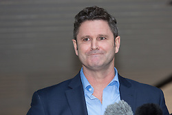 © Licensed to London News Pictures. 30/11/2015. London, UK. Chris Cairns giving a statement before leaving Southwark Crown Court in London after the jury found him not guilty. The former New Zealand cricketer, Chris Cairns and his Barrister Andrew Fitch-Holland were both found not guilty of perjury and perverting the course of justice. Photo credit : Vickie Flores/LNP