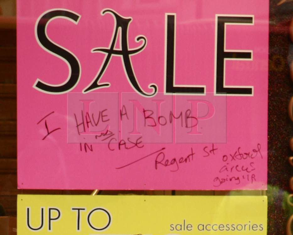 © under license to London News Pictures.  13/01/2011. A close-up of writing on a sign in the window of an Accessorize store London's Regent Street, after a man was arrested after he broke into a shop in London's Regent Street and threatened to blow himself up.  Photo credit should read London News Pictures..