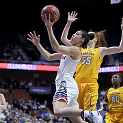 Kia Nurse, UConn, drives past Marina Laramie, East Carolina, during the UConn Huskies Vs East Carolina Pirates Quarter Final match at the  2016 American Athletic Conference Championships. Mohegan Sun Arena, Uncasville, Connecticut, USA. 5th March 2016. Photo Tim Clayton