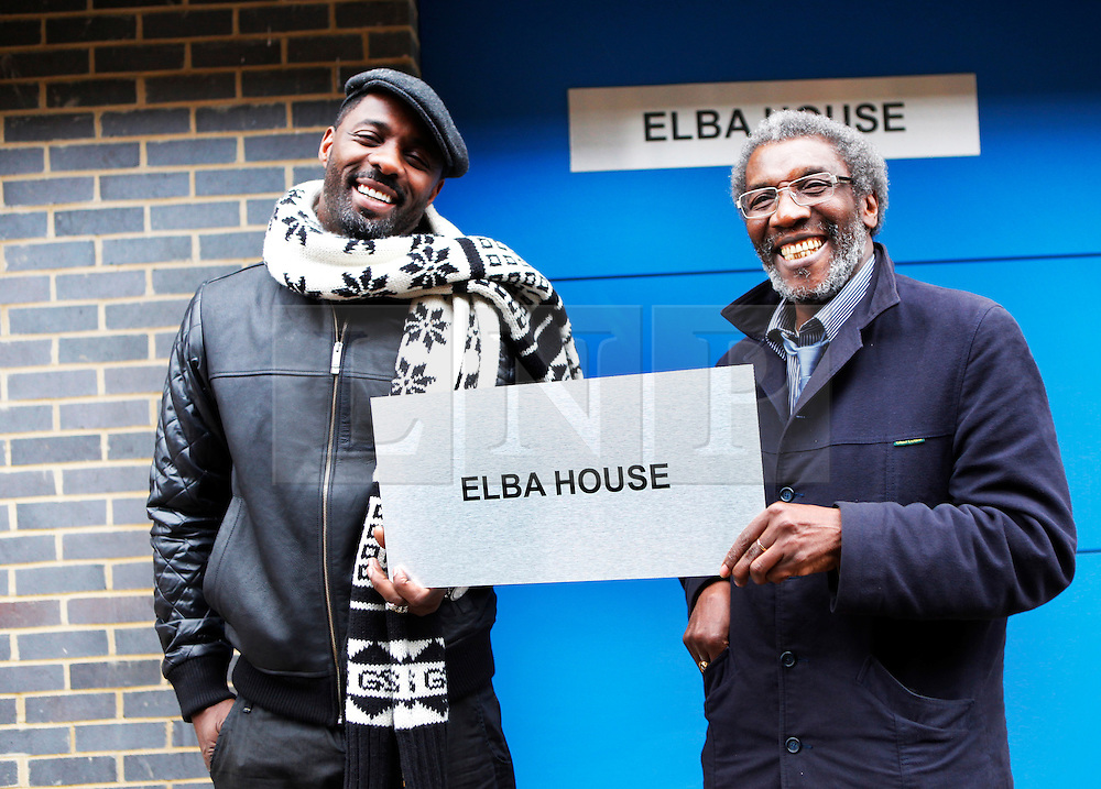 © under license to London News Pictures.  Actor Idris Elba, star of Wire and Luther, with his father Winston Elba, opens Elba House, a new social housing development in Andre St, Hackney, named in his honour, on 14th january 2011 Photo credit should read: Olivia Harris/ London News Pictures