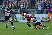 Gloucester wing David Halaifonua (11) being tackled to the ground during the Aviva Premiership match between Bath Rugby and Gloucester Rugby at the Recreation Ground, Bath, United Kingdom on 29 October 2017. Photo by Gary Learmonth.