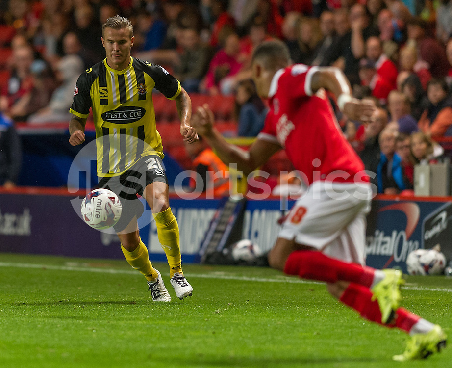 Matt Partridge of Dagenham & Redbridge during the Capital One Cup match between Charlton Athletic and Dagenham and Redbridge at The Valley, London, England on 11 August 2015. Photo by Vince  Mignott.
