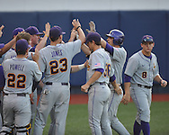 Mississippi vs. LSU's Tyler Moore hits a solo home run in the second inning in Oxford, Miss. on Friday, May 4, 2012. (AP Photo/Oxford Eagle, Bruce Newman)