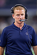 ARLINGTON, TX - AUGUST 26:  Head Coach Jason Garrett of the Dallas Cowboy on the sidelines during a game against the Arizona Cardinals at AT&T Stadium during week 3 of the preseason on August 26, 2018 in Arlington, Texas.  The Cardinals defeated the Cowboys 27-3.  (Photo by Wesley Hitt/Getty Images) *** Local Caption *** Jason Garrett