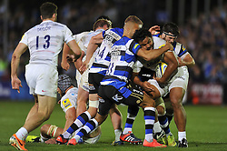 Billy Vunipola of Saracens is tackled - Photo mandatory by-line: Patrick Khachfe/JMP - Mobile: 07966 386802 03/10/2014 - SPORT - RUGBY UNION - Bath - The Recreation Ground - Bath Rugby v Saracens - Aviva Premiership