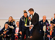 Team GB Hockey interviewed by BBC's Mark Chapman during the Manchester Olympic Parade in Manchester, United Kingdom on 17 October 2016. Photo by Richard Holmes.