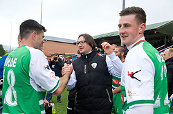 NEWTOWN, WALES - Saturday, May 2, 2015: The New Saints manager Craig Harrison celebrates after his side's 2-0 victory over Newtown in the final of the FAW Welsh Cup at Latham Park. (Pic by Ian Cook/Propaganda)