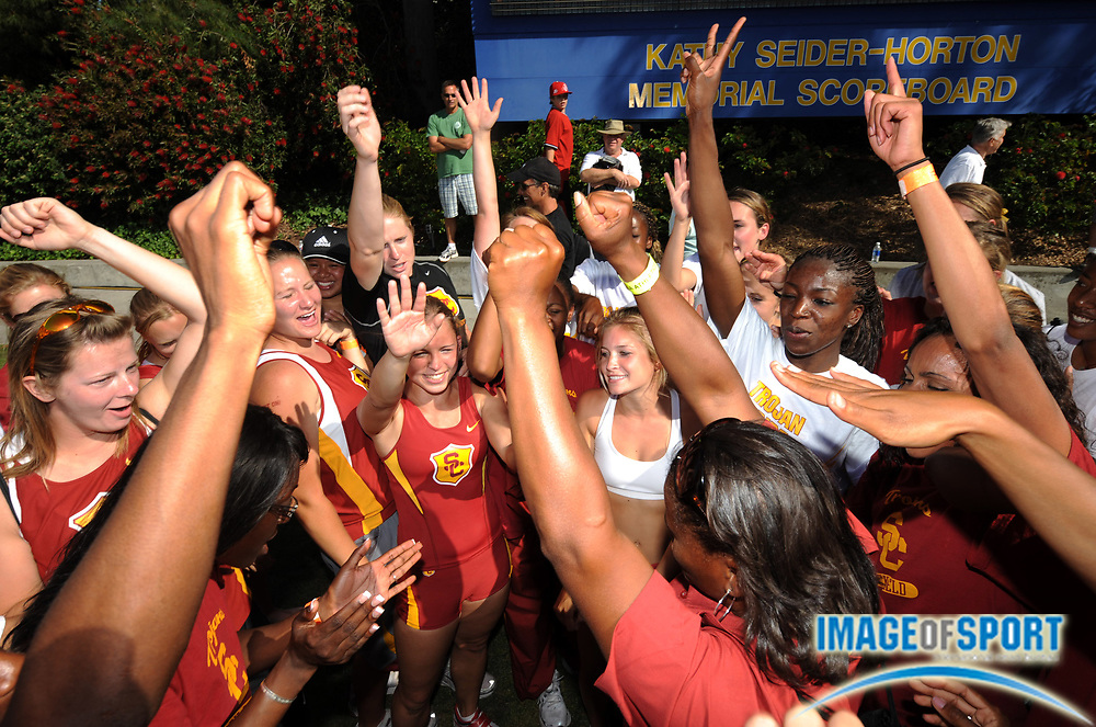 May 3, 2008; Los Angeles, CA, USA: The Southern California women celebrate after 86-77 dual meet victory over UCLA for the Trojans' first victory over the Bruins since 1992 at Drake Stadium.