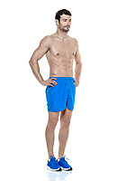 one caucasian man  exercising fitness  exercises standing isolated on white background