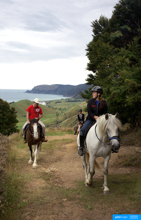 People enjoying a horse ride around the countryside at Happy Valley Adventures, Cable Bay Rd. Nelson New Zealand, 30th January  2011, Photo Tim Clayton.