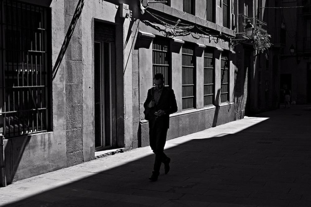 Man walking in shadow, Ciutat Vella, Barcelona