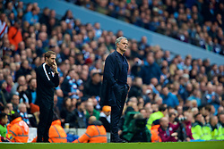MANCHESTER, ENGLAND - Saturday, April 7, 2018: Manchester United's manager Jose Mourinho looks dejected as Manchester City score the opening goal during the FA Premier League match between Manchester City FC and Manchester United FC at the City of Manchester Stadium. (Pic by David Rawcliffe/Propaganda)