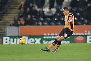 Hull City midfielder Jake Livermore (14) kicks forward  during the Sky Bet Championship match between Hull City and Sheffield Wednesday at the KC Stadium, Kingston upon Hull, England on 26 February 2016. Photo by Ian Lyall.