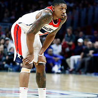 09 December 2017: Washington Wizards guard Bradley Beal (3) rests during the LA Clippers 113-112 victory over the Washington Wizards, at the Staples Center, Los Angeles, California, USA.