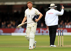 England's Jonny Bairstow walks off after being bowled LBW by West Indies' Kemar Roach during day two of the Third Investec Test match at Lord's, London.