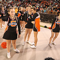 Adam Robison   BUY AT PHOTOS.DJOURNAL.COM<br /> Calhoun City cheerleaders begin to sense the championship as the fourth quarter draws to an end with Calhoun CIty deafating Bay Springs 22-8 for the MHSAA Class 2A Football Chanpionship Friday night in Starkville.