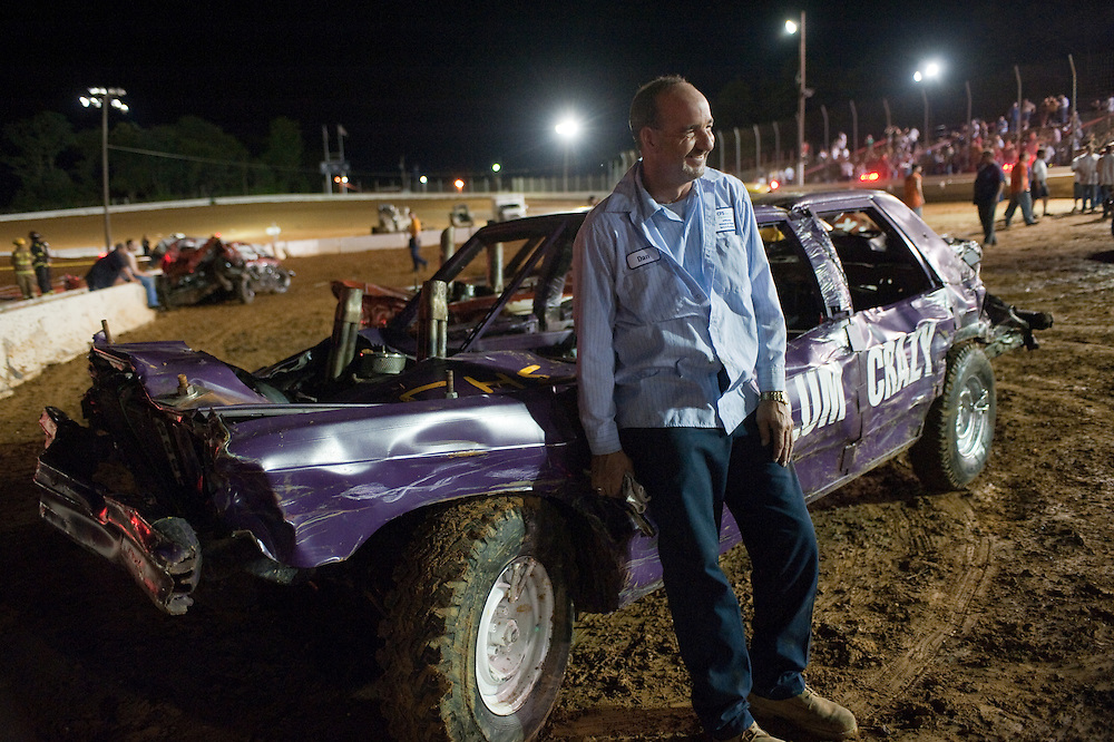Man with his vehicle at a Demolition Derby
