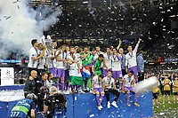 Real Madrid players lift the Champions League Trophy during the UEFA Champions League Final match between Real Madrid and Juventus at the National Stadium of Wales, Cardiff, Wales on 3 June 2017. Photo by Giuseppe Maffia<br /> <br /> Giuseppe Maffia/UK Sports Pics Ltd/Alterphotos