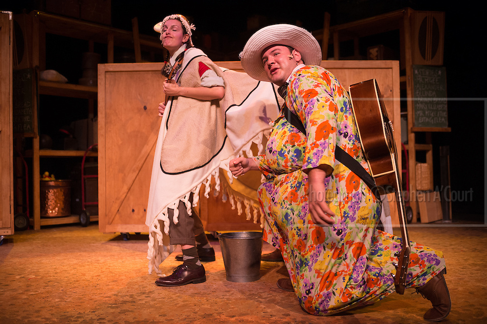 Wellington, NZ. 18.04.2014. Capital E National Theatre for Children presents MR McGEE AND THE BITING FLEA. Adapted from stories by Pamela Allen. Cast:Whitney Channings, Jack Buchanan and Tom Knowles. National Tour throughout 2014. Opens at Hannah Playhouse, 19 April to 3 May. Photo credit: Stephen A'Court.  COPYRIGHT ©Stephen A'Court