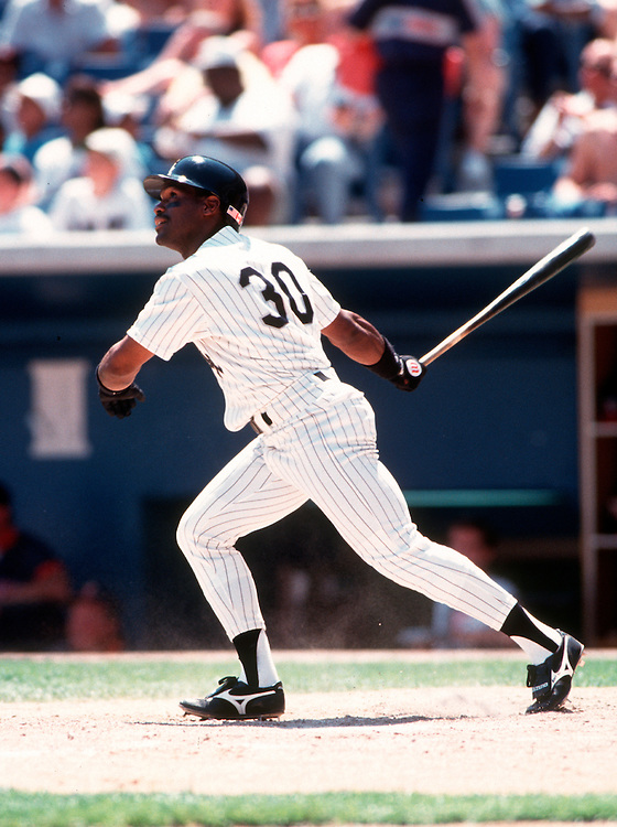 CHICAGO - UNDATED: Tim Raines #30 of the Chicago White Sox bats in an MLB game at Comiskey Park in Chicago, Illinois.  Raines played for the White Sox from 1991-1995.  (Photo by Ron Vesely)