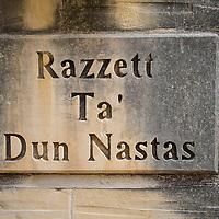 Razzett Ta' Dun Nastas house sign;<br />Gozo, Malta, Europe.<br />Summer 2016.