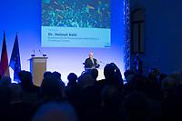 19 DEC 2014, DRESDEN/GERMANY:<br /> Helmut Kohl, CDU, Bundeskanzler a.D., haelt eine kurze Rede, Veranstaltung der Konrad-Adenauer-Stiftung am 25. Jahrestag der Rede von Helmut Kohl vor der Ruine der Frauenkirche, Albertinum<br /> IMAGE: 20141219-01-143