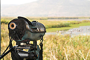 Israel, Hula Valley, Lake Agamon Bird sanctuary nature reserve Bird watcher's telescope overlooking the lake from within a hide
