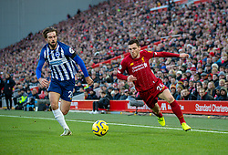 LIVERPOOL, ENGLAND - Saturday, November 30, 2019: Liverpool's Andy Robertson (R) and Brighton & Hove Albion's Davy Pröpper during the FA Premier League match between Liverpool FC and Brighton & Hove Albion FC at Anfield. (Pic by David Rawcliffe/Propaganda)