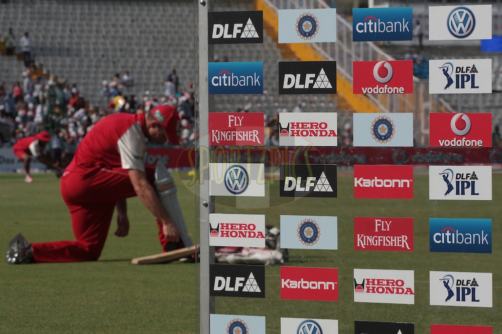 A kings XI player during match 9 of the Indian Premier League ( IPL ) Season 4 between the Kings XI Punjab and the Chennai Super Kings held at the PCA stadium in Mohali, Chandigarh, India on the 13th April 2011..Photo by Anil Dayal/BCCI/SPORTZPICS