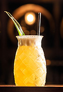 Photography ©Mara Lavitt<br /> November 26, 2018<br /> <br /> The Press restaurant, 187 Allyn St. Hartford.<br /> <br /> Castaway: Hamilton's pimento dram rum, Amaretto, coconut water, pineapple juice, fresh lime juice.