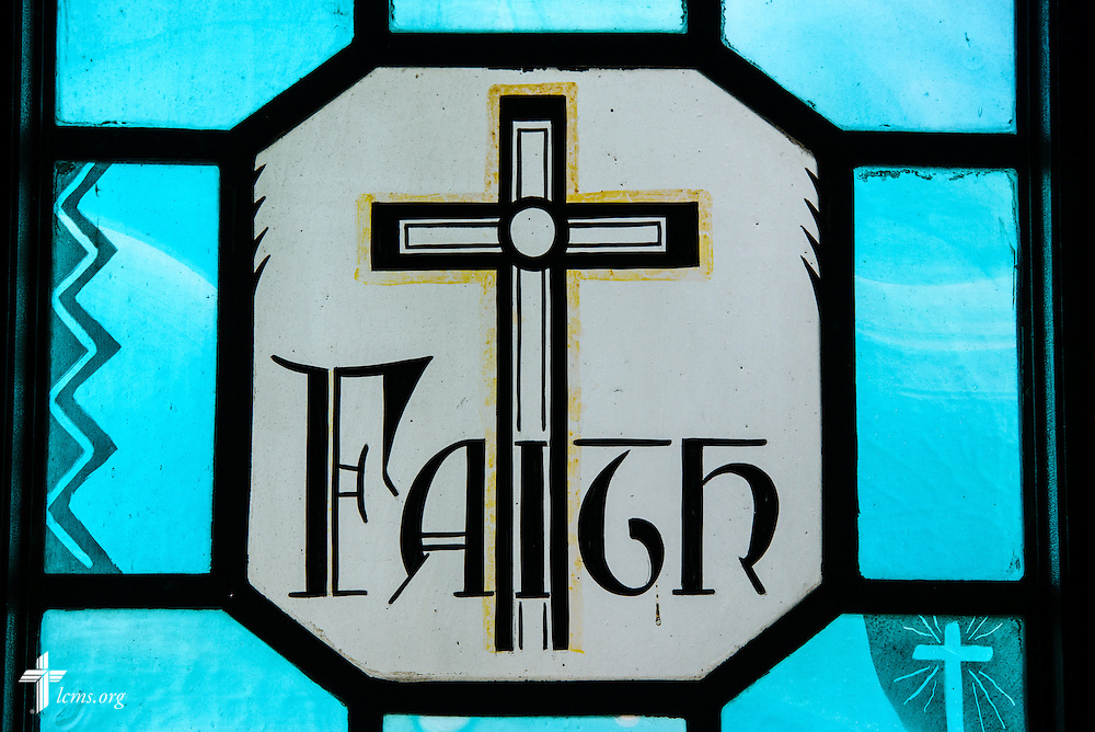 """Stained glass at Luther Memorial Chapel depicts """"faith"""" on Friday, Jan. 29, 2016, in Shorewood, Wis. LCMS Communications/Erik M. Lunsford"""