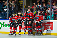KELOWNA, CANADA - NOVEMBER 29: Carsen Twarynski #18, Kyle Topping #24, Cal Foote #25, Gordie Ballhorn #4 and Dillon Dube #19 of the Kelowna Rockets celebrate a goal against the Prince George Cougars on November 29, 2017 at Prospera Place in Kelowna, British Columbia, Canada.  (Photo by Marissa Baecker/Shoot the Breeze)  *** Local Caption ***