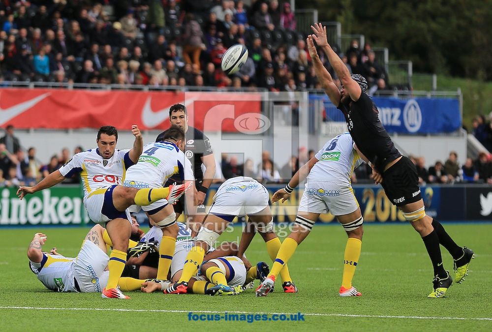 Ludovic Radosavljevic of Clermont Auvergne clears during the European Rugby Champions Cup match at Allianz Park, London<br /> Picture by Michael Whitefoot/Focus Images Ltd 07969 898192<br /> 18/10/2014