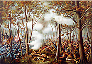 Tecumseh's War 1811-1813: Battle of Tippecanoe, 7 November 1811, fought on Indian Territory between US forces under Governor William Harrison and American Indian Confederation led by Tecumseh , a Shawnee. Print 1889.