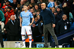 Manchester City manager Pep Guardiola talks to Phil Foden of Manchester City - Mandatory by-line: Robbie Stephenson/JMP - 01/10/2019 - FOOTBALL - Etihad Stadium - Manchester, England - Manchester City v Dinamo Zagreb - UEFA Champions League Group Stage
