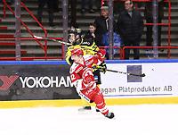 2019-12-08 | Ljungby, Sweden: Troja-Ljungby (32) Eric Henriksson and Vimmerby HC (32) Erik Gustafsson during the game between IF Troja / Ljungby and Vimmerby HC at Ljungby Arena ( Photo by: Fredrik Sten | Swe Press Photo )<br /> <br /> Keywords: Ljungby, Icehockey, HockeyEttan, Ljungby Arena, IF Troja / Ljungby, Vimmerby HC, fstv191208, ATG HockeyEttan