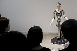 June 22, 2017 - Tokyo, Tokyo, Japan - A humanoid robot called Alter, designed by scientists in Japan is exhibited at the National Museum of Emerging Science and Innovation in Tokyo, Japan. That CPG has a neutral network that replicates neurons, allowing the robot to create movement patterns of its own, influenced by sensors that detect proximity, temperature and, for some reason, humidity. The setup doesn't make for human-like movement, but it gives the viewer the very strange sensation that this particular robot is somehow alive. (Credit Image: © Alessandro Di Ciommo via ZUMA Wire)