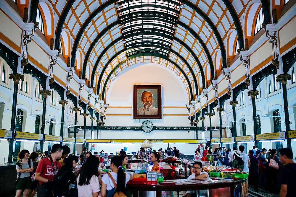 The interior of the old post office building in Ho Chi Minh City, Vietnam.