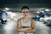 Pattaya, April 11, 2017 -  every day, Passacha Rattananai going to the gym He is a transgender person who was assigned female at birth but whose gender identity is that of a man. He is in relationship for the past 5 years with Teerawat Budtaya, She is a LadyBoy and She's had sex surgery.