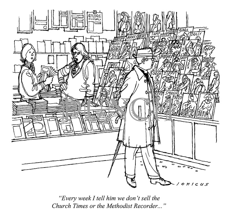 """Every week I tell him we don't sell the Church Times or the Methodist Recorder..."" (a cartoon showing a clergyman looking at pornographic magazines in a sex shop)"