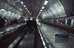 UK ENGLAND LONDON NOV98 - View down the escalator at Liverpool Street Station. ..The London Underground is a rapid transit system serving a large part of Greater London and neighbouring areas of Essex, Hertfordshire and Buckinghamshire in the UK. The Underground has 270 stations and about 400 km of track, making it the longest metro system in the world by route length; it also has one of the highest number of stations and transports over three million passengers daily...jre/Photo by Jiri Rezac..© Jiri Rezac 1998