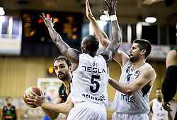 Mirza Begic of Petrol Olimpija vs Bandja Sy of Partizan NIS and Dzordze Gagic of Partizan NIS during basketballl match between KK Petrol Olimpija Ljubljana and KK Partizan NIS mts in Round #20 of ABA League 2017/18, on February 10, 2018 in Tivoli sports hall, Ljubljana, Slovenia. Photo by Vid Ponikvar / Sportida