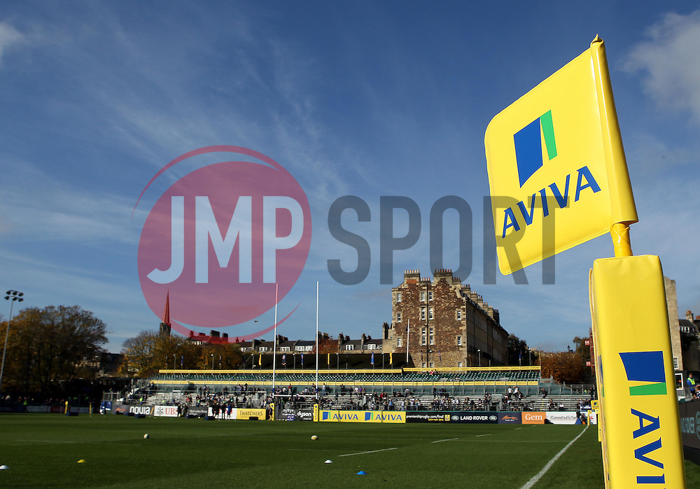 The Aviva markers at The Recreation Ground home of Bath Rugby - Mandatory byline: Robbie Stephenson/JMP - 07966386802 - 31/10/2015 - RUGBY - Recreation Ground -Bath,England - Bath Rugby v Harlequins - Aviva Premiership