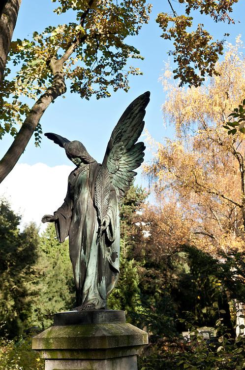 DEU,NRW,Köln,Deutschland, Nordrhein-Westfalen,Nordfriedhof, Engelskulptur auf dem Friedhof   |  Statue of an angel at a grave yard in Cologne Germany   |