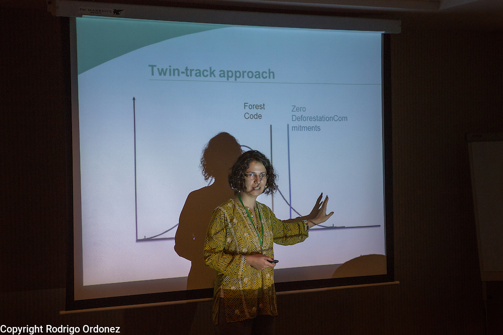 Isabella Freire Vitali, Brazil Manager and Latin America Coordinator at Proforest, presents during a session on the Brazil Initiative at the General Assembly of the Tropical Forest Alliance 2020 in Jakarta, Indonesia, on March 10, 2016. In these working sessions participants established the 2016-18 strategy for TFA 2020's initiatives in priority countries and regions. <br /> (Photo: Rodrigo Ordonez)